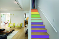 Thank you for the feature. Find out how to give your staircase an on-trend makeover with coloured stickers by visiting their website. Cool Wallpapers For Walls, House Stairs, Basement Stairs, Nursery Wall Decals, Wall Murals, Stair Stickers, Under Stairs Cupboard, Stair Risers, Best Windows