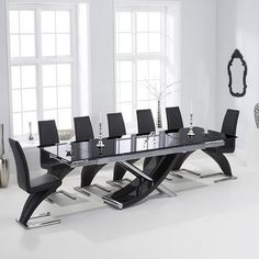 hanover 210cm glass extending dining table with hereford z dining chairs by Mark Harris
