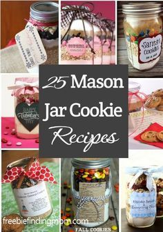 25 #MasonJar cookie #recipes - Great #gifts for teachers, babysitters, mail people and more. Mason Jar Cookie Recipes, Mason Jar Cookies, Mason Jar Meals, Mason Jar Gifts, Meals In A Jar, Jar Recipes, Gift Jars, Jar Food Gifts, Diy Gifts In A Jar