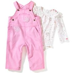 Carhartt Kids Infant Girl's Washed Canvas Overall Set