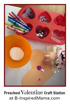 Do your kids like making their own Valentines? Set out some fun arts and craft supplies and let them have some open-ended creative time with this Preschool Valentine Making Station at B-InspiredMama.com!