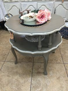 Vintage Two Tiered French Provincial Side Table Painted In French Linen U0026  Old White With Clear