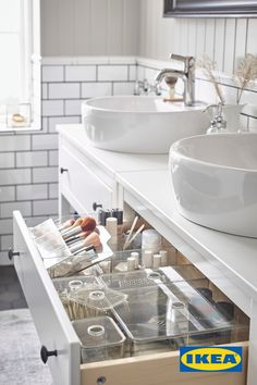 Clean up and recharge in this relaxing bathroom - IKEA Ikea Bathroom, White Bathroom, Bathroom Flooring, Small Bathroom, Hemnes, Classic Bathroom, Modern Bathroom, Relaxing Bathroom, Wash Stand