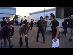 Jensen giving Misha Collins a pie in the face! CUTEST THING EVER.