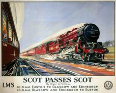 Scot Passes Scot. LMS Vintage Travel Poster by Bryan de Grineau. 1937