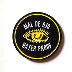 "MAL DE OJO PIN Soft Enamel Die cut  1 1/4"" Tall on black die brass with Black rubber pin clutch."