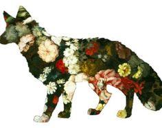 Flowers wolf  - Temporary tattoo