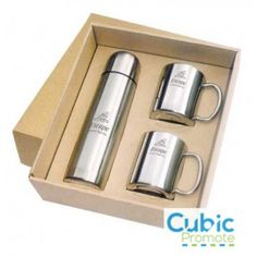 A gift set designed to impress its recipient, this promotional kit consists of a stainless steel vacuum flask and 2 x double walled stainless steel mugs. Useful both individually and as part of a set, the items in this kit immediately bring id Vacuum Flask, Branded Gifts, Heating And Cooling, Laser Engraving, Branding, Mugs, Prints, Stuff To Buy, Design