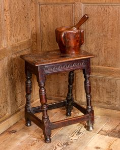 17th century oak joined stool, Marhamchurch antiques - the Mortar and Pestle is a nice touch