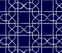 ALHAMBRA TRELLIS - white on navy fabric by marcador on Spoonflower - custom fabric