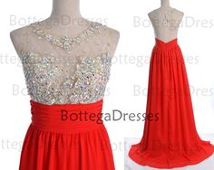 Red Prom Dresses, 2014 Red Lace Prom Gown, Straps with Open Back Lace and Chiffon Long Red Prom Dresses, Fomal Dresses on Etsy, $169.00