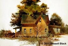 Russell Black Kanab Farmhouse 15 x 22 - Watercolor Watercolor Barns, Watercolour Painting, Watercolour Tutorials, Watercolor Techniques, Cool Art, Awesome Art, Cottage In The Woods, Paintings I Love, Farm Life