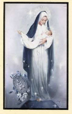 Hail Holy Queen Prayer Holy Card - Mary Mother of Mercy Blessed Mother Mary, Divine Mother, Blessed Virgin Mary, Hail Holy Queen Prayer, Prayers To Mary, Queen Of Heaven, Sainte Marie, Mary And Jesus, Holy Mary