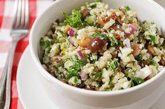 Barley Bean Salad with Cauliflower Rice - Plant Based Cooking Side Salad Recipes, Veggie Recipes, Lunch Recipes, Whole Food Recipes, Healthy Recipes, Vegetarian Recipes, Watermelon Salad, Beet Salad, Roasted Potato Salads