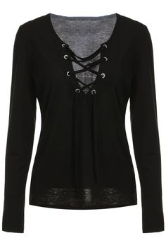 $11.89 Sexy Plunging Neckline Lace-Up Long Sleeve T-Shirt For Women