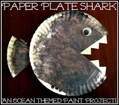 Paper Plate Shark - a fun ocean themed painting project for your littlest explorer - House of Burke
