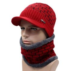 e24186ff1a349 Men s Brick Visor Beanie with Neck Scarf. Knitted BeaniesKnit BeanieBeanie  HatsWinter ...