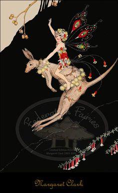 Kangaroo Fairy (by Margaret Clark) Illustrators, Vintage Fairies, Illustration, Fairytale Illustration, Art, Fairy Art, Magical Creatures, Prints, Love Fairy