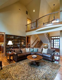 A second story balcony overlooks the greatroom. Plan #875-D - The Rockledge. http://www.dongardner.com/plan_details.aspx?pid=2295. #GreatRoom #Balcony #HomePlan