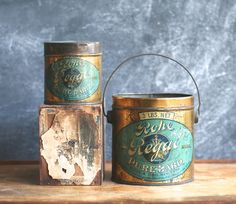 Rohe & Bros. Regal Pure Lard Tins Set Of Two Early Tins by jalopee, $134.00