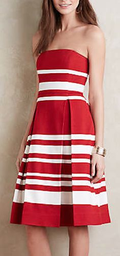 red and white striped strapless dress
