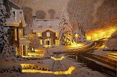 Попрощаемся с зимой серией картин «Рождественский ноктюрн» (15 работ)