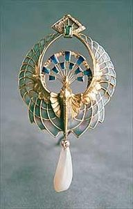 Art Nouveau peacock brooch