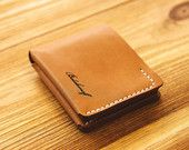 Bifold Wallet in Horween Tan Essex. Handstitched. Three colors available