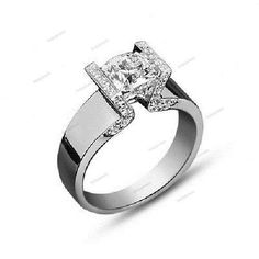 Simulated Diamond White Gold Fn in 925 Silver Solitaire W/Accent Engagement Ring…