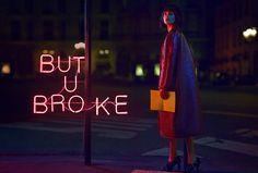 Dramatic Neon Sign Editorials : Stiletto Magazine 'Lost in Paris' shot by Quentin Shih.