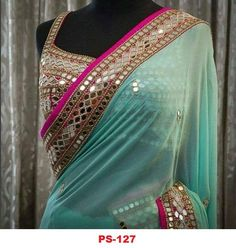 Designer blouse with saree ready made blouse with Saree exclusive lace border with Party wear designer saree Bollywood Style Designer saree - Mode Trends Sari Blouse, Mirror Work Saree Blouse, Saree Blouse Designs, Mirror Saree, Sari Design, Mode Bollywood, Bollywood Fashion, Bollywood Style, Indian Dresses