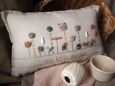 My Kitty Garden Pillow Cottage Style by PillowCottage on Etsy, $27.00