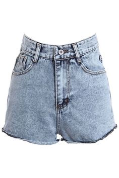 High-Rise Denim Shorts #ROMWE