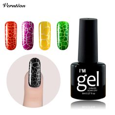 Verntion Crack UV Nail Lacquer 30 day Professional Cracking Nail Varnish Crackle Shatter 12 Colorful lucky Gel Nails Polish