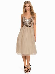 Sequin Bandeau Dress - Little Mistress - Cream - Feestjurken - Kleding - Vrouw - Nelly.com