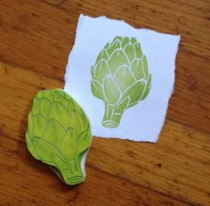 Includes: 1 Artichoke Stamp measures about 3 tall Hand carved into durable rubber. Perfect for many paper and fabric projects. Homemade Stamps, Stamp Printing, Love Stamps, Custom Stamps, Tampons, Ink Pads, Craft Activities, Textiles, Pattern Art