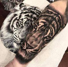 Black and grey ink tiger tattoo by Ethan Gozum #maoritattoosmeaning