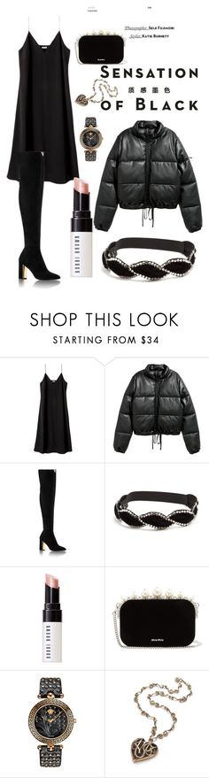 """""""Gatsby Noir"""" by lolita061 on Polyvore featuring Vision, Gucci, Bobbi Brown Cosmetics, Miu Miu, Versace and allblackoutfit"""