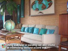 Textured wallpaper in a tiki-retro living room