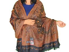 "Brown Black Paisley Embroidered Shawl - Kashmir Wool Shoulder Wrap Afghan 80"""