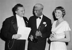 """James Baskett receives an honorary Oscar for """"Song of the South"""" from Jean Hersholt and Ingrid Bergman Hollywood Stars, Classic Hollywood, Uncle Remus, Song Of The South, Film Song, Jim Crow, Ingrid Bergman, African Diaspora, African American History"""