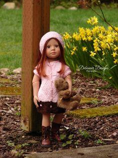 Easter Sale ~ Hand-Knit Spring Dress & Headband for slim Gotz Happy Kidz dolls #DebonairDesigns