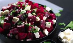 If you're looking for some inspiration for a new Salad you can't go past this delicious Beetroot and Feta Cheese Salad! All you need is Beetroot, Feta Cheese, Garlic, Lemon Vinaigrette … Feta Cheese Recipes, Cheese Salad, Beetroot And Feta Salad, Feta Salat, Roasted Beets, Healthy Salad Recipes, Vegetarian Recipes, Soup And Salad, Vegetable Recipes
