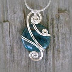 Teal Blue Apatite Wire Wrapped Pendant Necklace in Silver by CareMoreCreations #Handmade #Jewelry