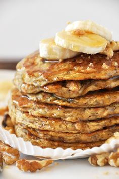 "Vegan Banana Nut Muffin Pancakes. I think you can substitute the weird vegan ""butter"" with applesauce."