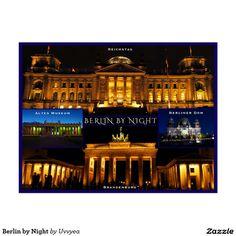 Berlin by Night #berlin #germany #buy #postcard #gift #brandenburg #berlincathedral #berlinerdom #reichstag #travel #vacation #attractions