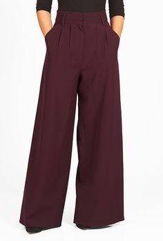 I <3 this High waist double cloth crepe palazzo pants from eShakti Classy Outfits, Cool Outfits, Dress Outfits, Fashion Outfits, Women's Fashion, Look Blazer, Pants For Women, Clothes For Women, 1940s Fashion