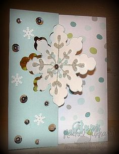 A Fun Fold Snowflake Card using the  Snowflakes Card Thinlits die from Stampin' Up!'s Holiday catalog. This card has an extra flap to hide a greeting to the recipient. Check out my blog for more details www.rachelsstampingplace.blogspot.com