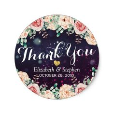 Wedding Thank You Chic Floral Purple Sparkle Light Classic Round Sticker - purple floral style gifts flower flowers diy customize unique Sparkle Baby Shower, Floral Baby Shower, Wedding Thank You Gifts, Wedding Shower Gifts, Purple Sparkle, Baby Shower Thank You, Wedding Stickers, Bridal Gifts, Elegant Styles