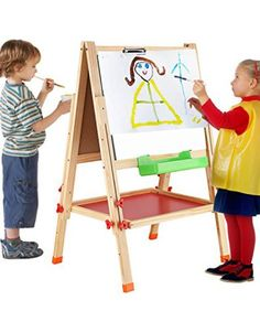battop-double-sided-adjustable-kids-easel-drawing-board-with-clip-magnetic-alphabet-numbers-mwooden-0